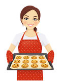 Woman baking cookies. Smiling woman holding baking tray with homemade cookies wearing apron isolated stock illustration