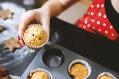 Woman baking cupcakes Stock Photography