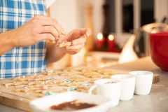 Woman baking in the kitchen christmas royalty free stock photos