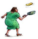 Woman baking pancakes Stock Image