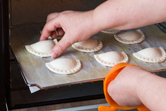 Woman baking pastry at home Stock Images