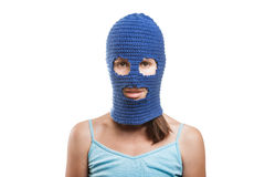 Woman in balaclava Stock Images