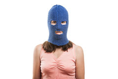 Woman in balaclava Royalty Free Stock Photography