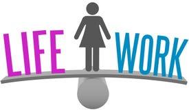 Woman balance life work decision choice. Woman weighs Life and Work Balance decision on choice scale symbol Stock Photography