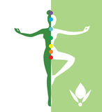 Woman in a balance position - vector illustration Royalty Free Stock Photo