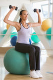Woman Balancing On Swiss Ball Stock Photos