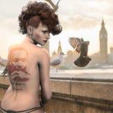 Woman, Balcony, Birds, City, Urban Stock Photo