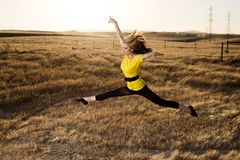 Woman in Balet Jump in a Field royalty free stock image
