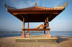 Woman at Bali seaside stock image