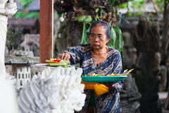 Woman with balinese traditional offerings to gods Royalty Free Stock Photography