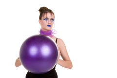 Woman with the ball Stock Images