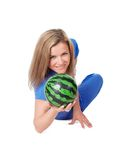 Woman with a ball Stock Images