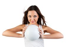 Woman with ball. Stock Photos