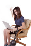 Woman Ball With Chain Computer Frustrated Royalty Free Stock Images