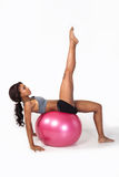 Woman on ball with clipping path Stock Photography