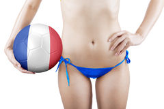 Woman with ball and wearing blue underwear Stock Photography