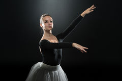 Woman Ballerina Ballet Dancer Dancing On Black Background Stock Photography