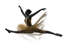 Woman ballerina ballet dancer dancing silhouette royalty free stock image