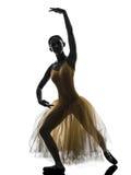 Woman  ballerina ballet dancer dancing silhouette. One woman ballerina ballet dancer dancing in silhouette on white background Royalty Free Stock Photos