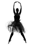 Woman ballet dancer leap dancing ballerina silhouette. One beautiful caucasian woman ballet dancer dancing leap jumping full length on studio isolated white Stock Images