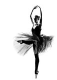 Woman ballet dancer leap dancing silhouette. One beautiful caucasian woman ballet dancer dancing leap jumping full length on studio isolated white background Stock Photo