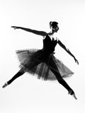 Woman ballet dancer leap dancing silhouette Stock Photo
