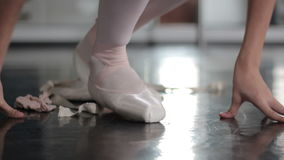 Woman ballet shoes stock video
