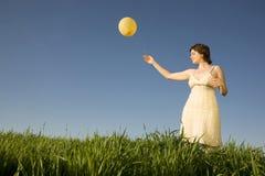 Woman with ballon Stock Photos