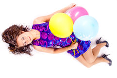 Woman with ballons Royalty Free Stock Images