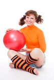 Woman with balloon Stock Image