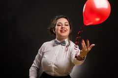 Woman with balloon stock photos