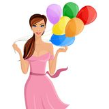 Woman balloon portrait. Young cheerful woman with colored balloons portrait isolated on white background vector illustration Royalty Free Stock Photography
