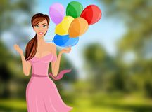 Woman balloon portrait. Young cheerful woman with colored balloons portrait on outdoor background vector illustration Stock Photo