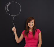 Woman with balloon Stock Photos