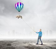 Woman with balloon Royalty Free Stock Photo