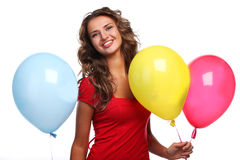 Woman and balloons Royalty Free Stock Photography