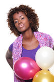 Woman with balloons. A woman with any balloons Royalty Free Stock Images