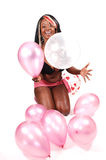 Woman with balloons. Royalty Free Stock Photography