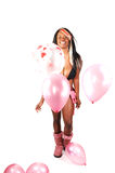 Woman with balloons. Royalty Free Stock Image