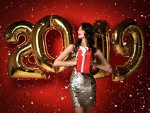 Woman With Balloons Celebrating At Party. stock photography