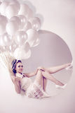 Woman with balloons in hands royalty free stock photos