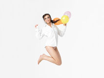 Woman with balloons, isolated white background royalty free stock photography