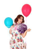 Woman with balloons and lollipop. Royalty Free Stock Photo