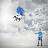 Woman with balloons Royalty Free Stock Photography