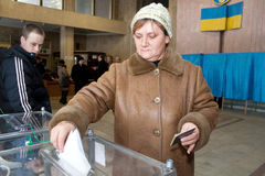 Woman with ballot box Stock Photography