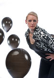 Woman in the baloons Stock Photography