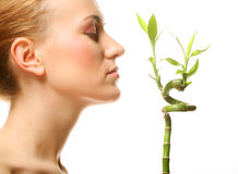 Woman with bamboo Stock Photo
