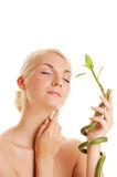 Woman with a bamboo plant Stock Photos