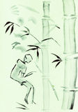 Woman and bamboo. Training drawing in suibokuga style with watercolor paints - woman and bamboo on green colored paper Royalty Free Stock Photo