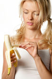 Woman with banana Stock Photos